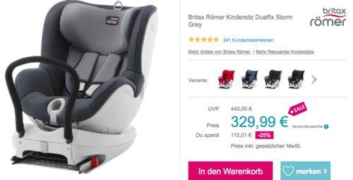Britax Römer Dualfix Kinder-Autositz Gruppe 0+/1, storm grey - jetzt 8% billiger