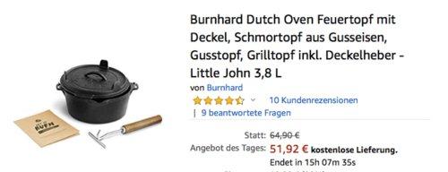 """Burnhard Dutch Oven """"Little John"""", 3,8 Liter Feuertopf mit Deckel - jetzt 20% billiger"""