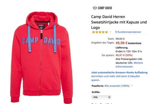 Camp David Herren Sweatshirtjacke mit Kapuze und Logo, Royal Red (L-XXL) - jetzt 37% billiger