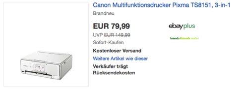 Canon 3-in-1 Multifunktionsdrucker Pixma TS8151, weiß - jetzt 17% billiger