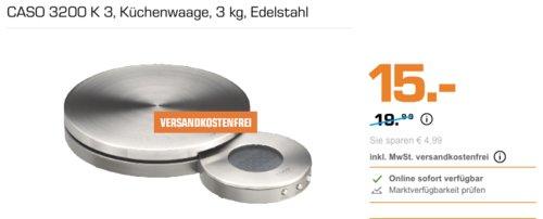 CASO 3200 K 3 Küchenwaage bis 3 kg, Edelstahl-Oberfläche - jetzt 25% billiger