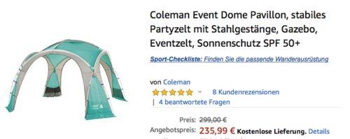 Coleman Event Dome Pavillon XL, 4,5x4,5m - jetzt 15% billiger