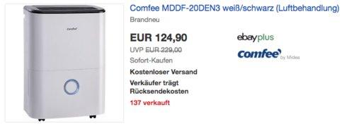Comfee MDDF-20DEN3 Luftentfeuchter, für Räume bis ca. 100m³ - jetzt 7% billiger