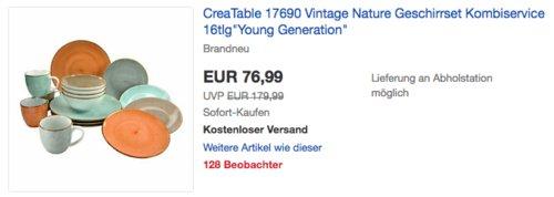 "CreaTable 17690 Vintage Nature Geschirrset Kombiservice 16tlg/""Young Generation/"""