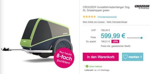 CROOZER Hundefahrradanhänger Dog XL Grasshopper, 105 x 86 x 93 cm - jetzt 9% billiger