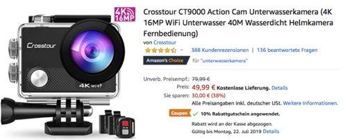 Crosstour CT9000 4K Action Cam (wasserdichtes Gehäuse, 2xAkku, Fernbedienung) - jetzt 10% billiger