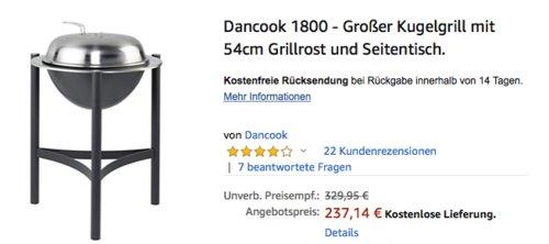 Dancook 1800 - Kugelgrill mit 54cm Grillrost - jetzt 21% billiger