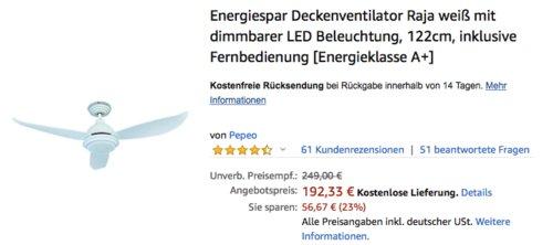 """Deckenventilator """"Raja"""" mit Deckenlampe und Fernbedienung, 122 cm - jetzt 21% billiger"""