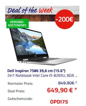 "Dell Inspiron 7586 39,6 cm (15.6"") 2in1 Notebook (i5-8265U, 8GB DDR, 256GB SSD, Win10 Home ) - jetzt 22% billiger"