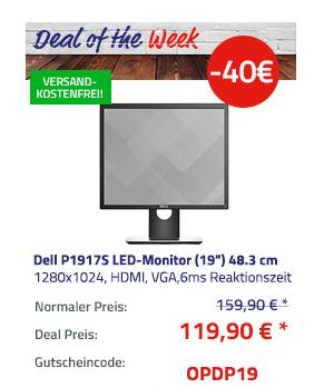 "Dell P1917S 48.3 cm(19"") LED-Monitor (6 ms, 5:4, IPS, VGA, HDMI, DP, Pivot) - jetzt 25% billiger"