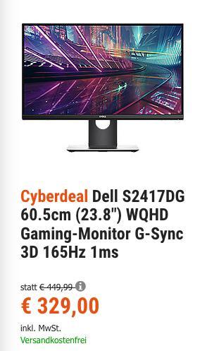 """Dell S2417DG 60.5cm (23.8"""") WQHD Gaming-Monitor (3D, 1ms ) - jetzt 15% billiger"""