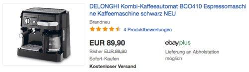 DeLonghi BCO 410 Kombi Espresso-Kaffeemaschine, schwarz - jetzt 23% billiger