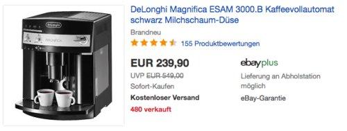 DeLonghi Magnifica ESAM 3000.B Kaffeevollautomat mit Milchschaum-Düse, 15 bar - jetzt 9% billiger