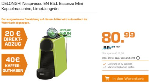 DELONGHI Nespresso EN 85.L Essenza Mini Kapselmaschine inkl. 40€ Kaffeeguthaben - jetzt 18% billiger