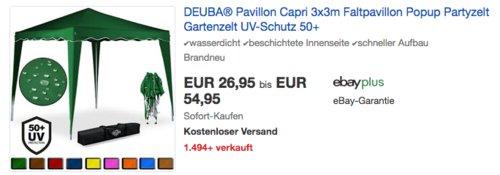 DEUBA® Pavillon Capri 3x3m, versch. Farben - jetzt 21% billiger