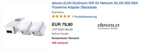 devolo dLAN Powerline 500 WiFi Network Kit (2x 500 WiFi Adapter und 1x 1000 duo+ Adapter) - jetzt 26% billiger