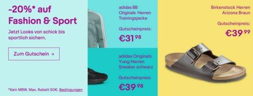 """Ebay - 20%-Gutschein für Fashion, Sport und Uhren & Schmuck: z.B. Birkenstock Unisex-Erwachsene Sandalen """"Arizona"""" - jetzt 11% billiger"""