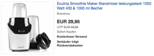 Eculina 1000 Watt Smoothie Maker inkl. 400 & 1000 ml Becher, silber/schwarz - jetzt 25% billiger
