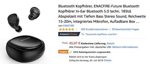 ENACFIRE-Future In-Ear Bluetooth Kopfhörer mit Mini-Ladebox - jetzt 25% billiger