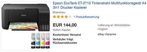 Epson EcoTank ET-2710  3in1 Tintenstrahl-Multifunktionsgerät, A4 - jetzt 17% billiger