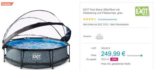 EXIT Pool Stone 300x76cm mit Abdeckung und Filterpumpe, grau - jetzt 20% billiger