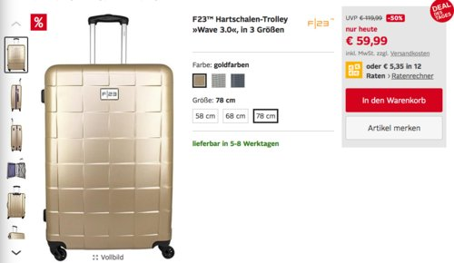 """F23 """"Wave 3.0"""" Hartschalen-Trolley Gr. 78 (101 Liter), versch. Farben - jetzt 37% billiger"""