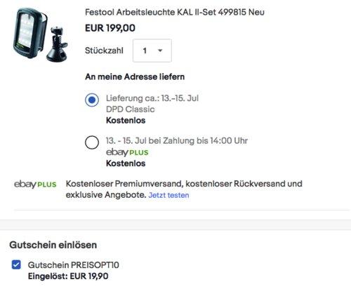 Festool 499815 SYSLITE Arbeitsleuchte-Set KAL II - jetzt 10% billiger