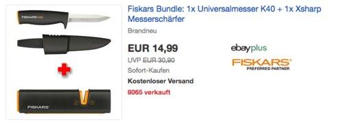 Fiskars Bundle: 1x Universalmesser K40 + 1x Xsharp Messerschärfer - jetzt 27% billiger