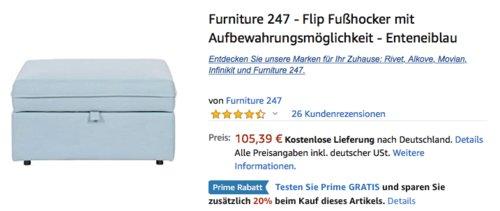 Furniture 247 - Flip Fußhocker mit Aufbewahrungsmöglichkeit, enteneiblau - jetzt 20% billiger