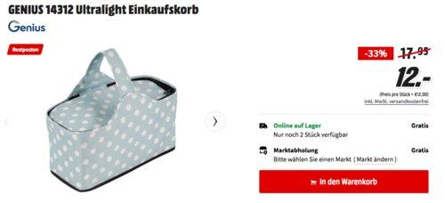 GENIUS 14312 Ultralight Einkaufskorb in Mintgrün/Weiß, 40 x 30 x 20 cm - jetzt 33% billiger