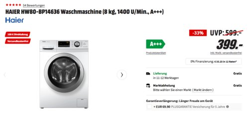 HAIER HW80-BP14636 Waschmaschine (8 kg, 1400 U/Min., A+++) - jetzt 18% billiger