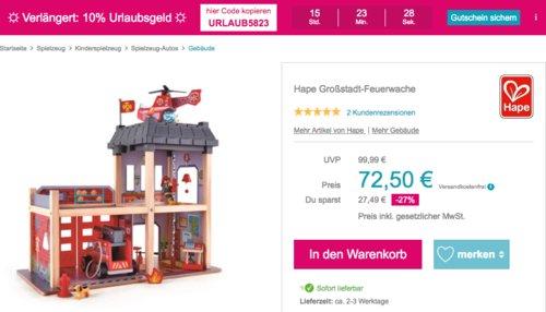Hape Großstadt-Feuerwache aus Holz , 60 x 48 x 13 cm - jetzt 10% billiger