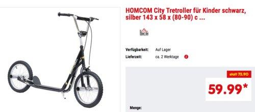 HOMCOM 16 Zoll City Tretroller für Kinder und Jugendliche, schwarz - jetzt 18% billiger