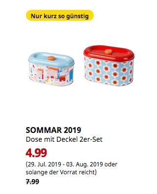 IKEA Berlin-Waltersdorf - SOMMAR 2019 Dose mit Deckel 2er-Set, verschiedene Muster - jetzt 38% billiger
