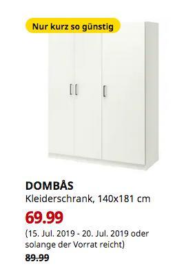IKEA Bielefeld - DOMBAS Kleiderschrank, weiß, 140x181 cm - jetzt 22% billiger