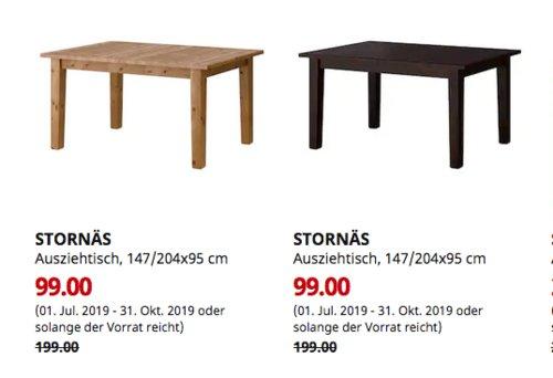 IKEA Bielefeld - STORNÄS Ausziehtisch, 147/204x95 cm,Antikbeize oderbraunschwarz - jetzt 50% billiger