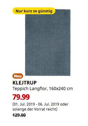 IKEA Brinkum - KLEJTRUP Teppich Langflor, blau, 160x240 cm - jetzt 38% billiger