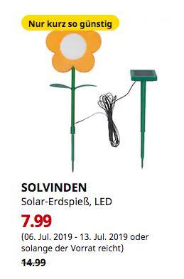IKEA Brinkum - SOLVINDEN Solar-Erdspieß, LED, für draußen, Blume gelb - jetzt 47% billiger