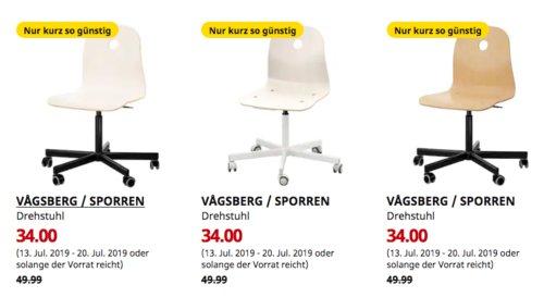 IKEA Brinkum - VAGSBERG / SPORREN Drehstuhl, versch. Farben - jetzt 32% billiger