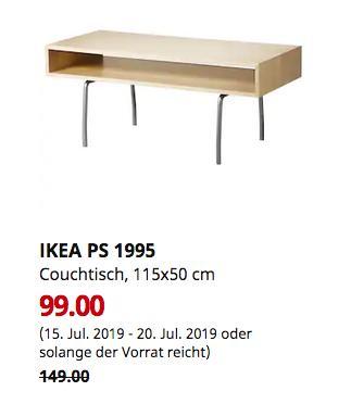 IKEA Chemnitz - IKEA PS 1995 Couchtisch, Birke weiß, 115x50 cm - jetzt 34% billiger