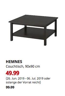 IKEA Düsseldorf - HEMNES Couchtisch, schwarzbraun, 90x90 cm - jetzt 50% billiger