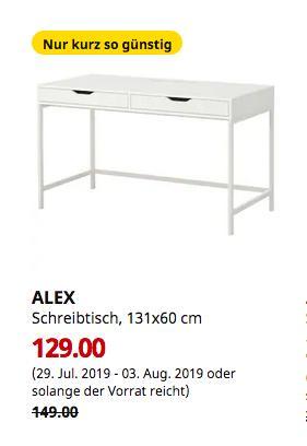 IKEA Dortmund - ALEX Schreibtisch, weiß, 131x60 cm - jetzt 13% billiger