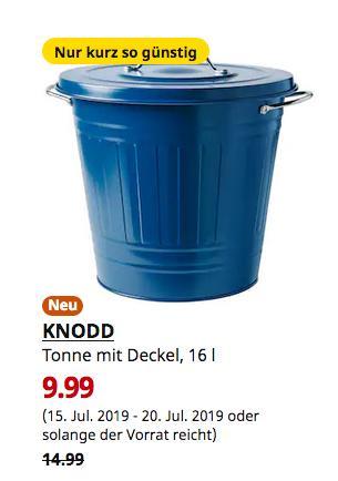IKEA Dortmund  - KNODD Tonne mit Deckel, dunkelblau, 16 l - jetzt 33% billiger