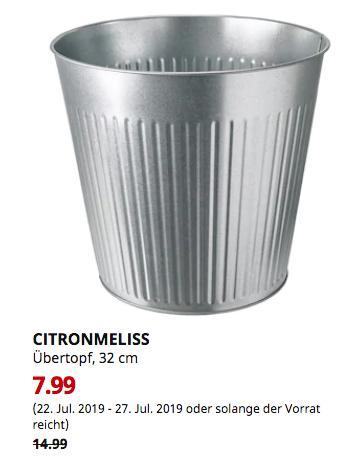 IKEA Erfurt - CITRONMELISS Übertopf, drinnen/draußen verzinkt, 32 cm - jetzt 47% billiger