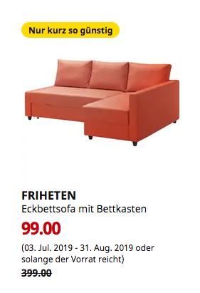 IKEA Hamburg-Moorfleet - Eckbettsofa mit Bettkasten, Skiftebo dunkelorange - jetzt 75% billiger