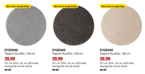 IKEA Hamburg-Schnelsen - STOENSE Teppich Kurzflor, 130 cm (mittelgrau,dunkelgrau oderelfenbeinweiß) - jetzt 20% billiger