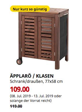 IKEA Köln-Godorf - ÄPPLARÖ / KLASEN Schrank/draußen, braun las., 77x58 cm - jetzt 8% billiger