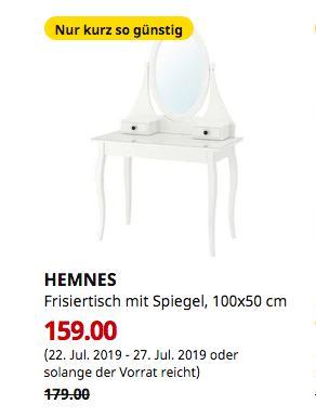 IKEA Kaarst - HEMNES Frisiertisch mit Spiegel, weiß, 100x50 cm - jetzt 11% billiger
