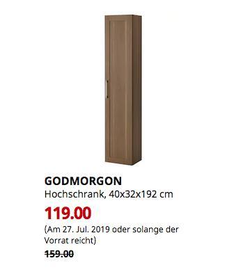 IKEA Kaiserslautern - GODMORGON Hochschrank, Nussbaumnachbildung, 40x32x192 cm - jetzt 25% billiger