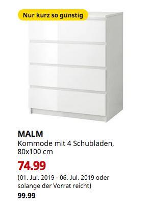 IKEA Ludwigsburg - MALM Kommode mit 4 Schubladen, weiß, Hochglanz, 80x100 cm - jetzt 25% billiger